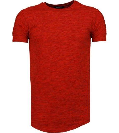 TONY BACKER Sleeve Ribbel - T-Shirt - Rood