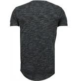 TONY BACKER Sleeve Ribbel - T-Shirt - Zwart