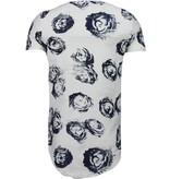 JUSTING Exclusief Blauw Rozen Print - T-Shirt - Wit