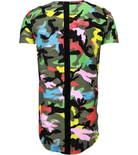 JUSTING Exclusief Kleur Leger Print - T-Shirt - Zwart