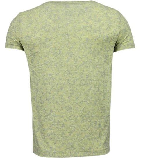 BN8 BLACK NUMBER Blader Motief Summer - T-Shirt - Geel