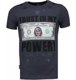 Local Fanatic Trust In My Power - Rhinestone T-shirt - Donker Grijs