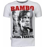 Local Fanatic Rambo - Rhinestone T-shirt - Wit