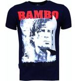 Local Fanatic Rambo - Rhinestone T-shirt - Navy