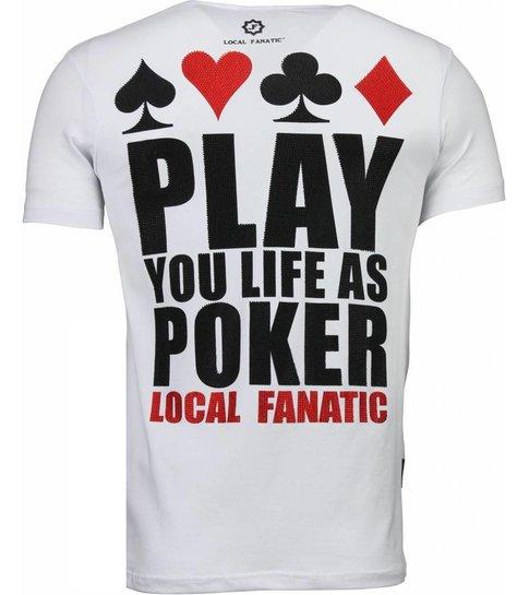 Local Fanatic Hot & Famous Poker - Bar Refaeli Rhinestone T-shirt - Wit