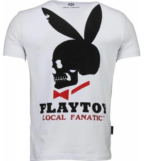 Local Fanatic God Save Playtoy - Rhinestone T-shirt - Wit