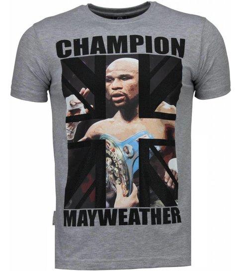 Local Fanatic Mayweather - Rhinestone T-shirt - Grijs