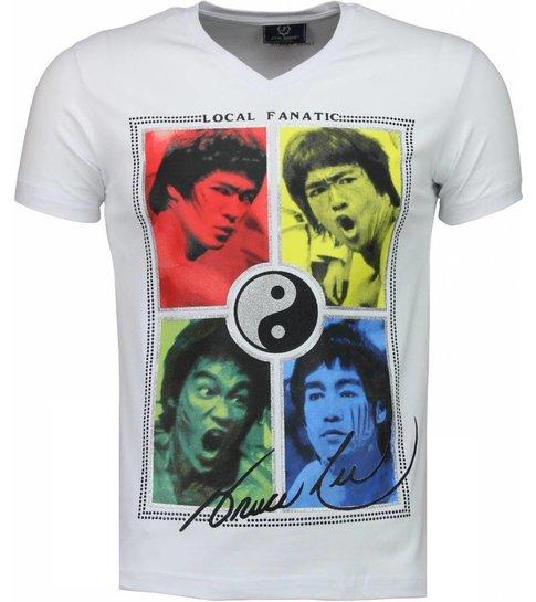 Local Fanatic Bruce Lee Ying Yang - T-shirt - Wit