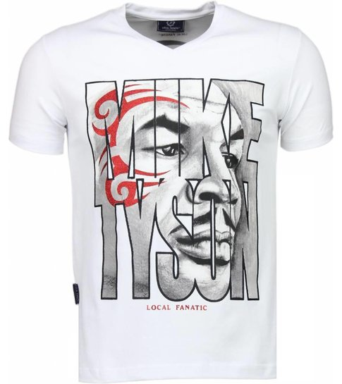 Local Fanatic Mike Tyson Tribal - T-shirt - Wit