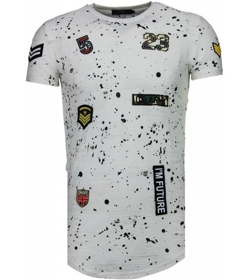 JUSTING Exclusief Military Patches Paint Splash - T-Shirt - Wit