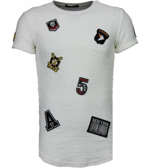JUSTING Exclusief Military Patches - T-Shirt - Wit