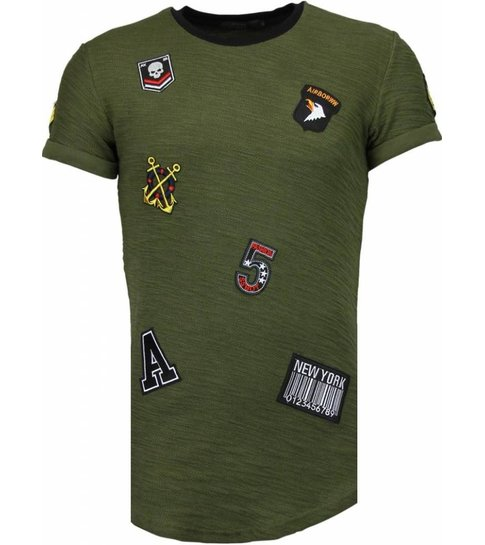 JUSTING Exclusief Military Patches - T-Shirt - Groen