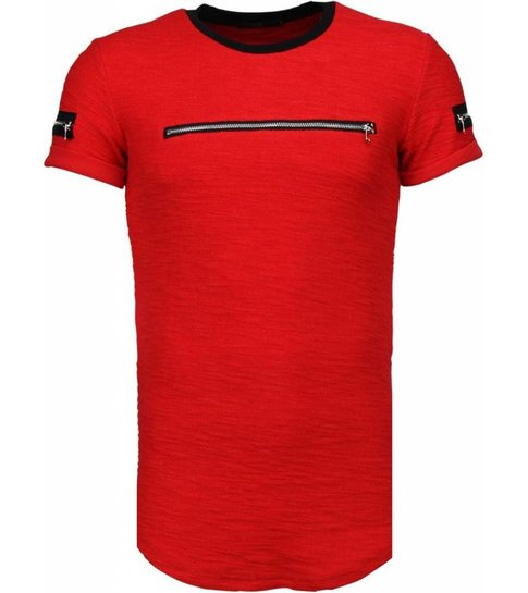 JUSTING Exclusief Zipped Chest - T-Shirt - Rood