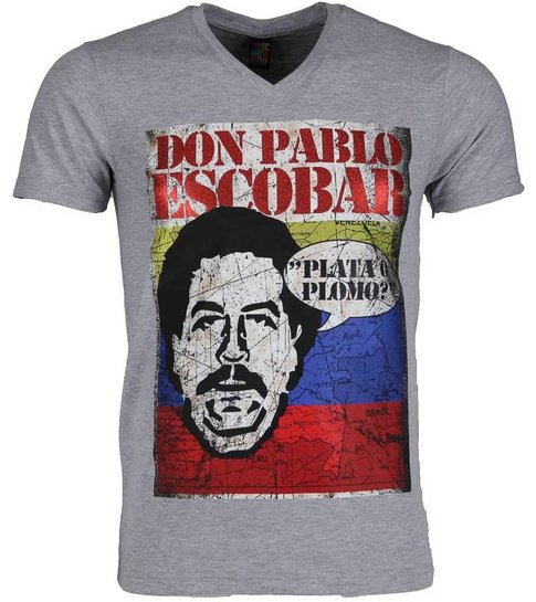 Local Fanatic T-shirt - Don Pablo Escobar - Grijs