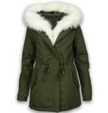 Adrexx Bontjassen - Dames Winterjas - Army Style - White Fur Hoodie - Groen
