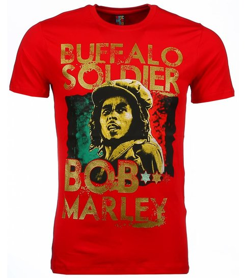 Local Fanatic T-shirt - Bob Marley Buffalo Soldier Print - Rood