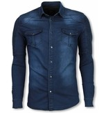 TRUE RISE Biker Denim Shirt - Slim Fit Ribbel Schoulder - Blauw