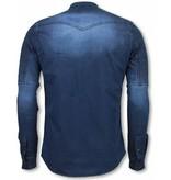 True Rise  - D&Co Biker Denim Shirt - Slim Fit Ribbel Schoulder - Blauw