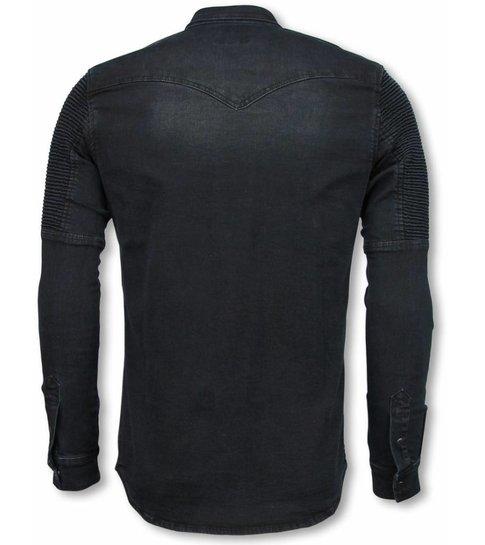 TRUE RISE Biker Denim Shirt - Slim Fit Ribbel Schoulder - Zwart