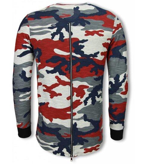 TONY BACKER Army Shirt Zipped Back - Long Fit Sweater - Camo