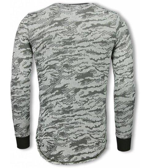 TONY BACKER Army Look Shirt - Long Fit Sweater - Groen