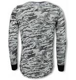 TONY BACKER Army Look Shirt - Long Fit Sweater - Zwart