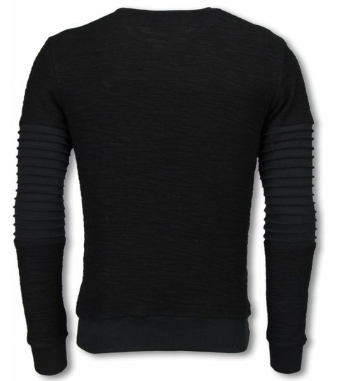 JUSTING Ribbel Arm met Kevlar Pocket - Sweater - Zwart