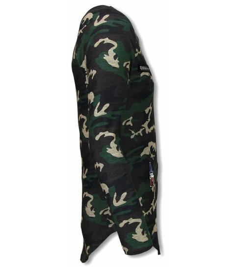 JUSTING King of Army Shirt- Long Fit Sweater - Camouflage