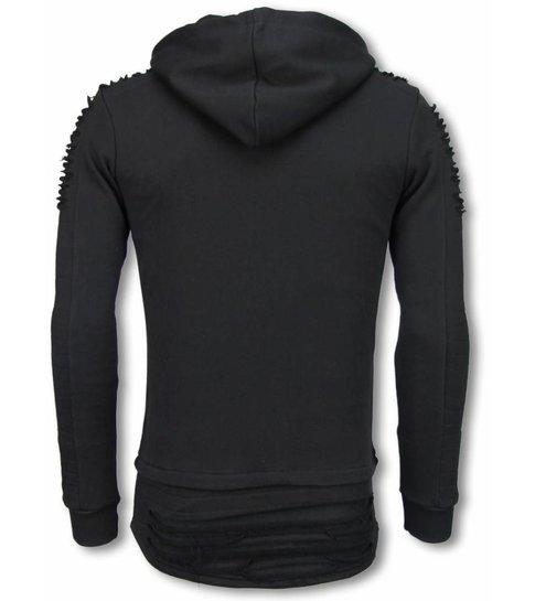 JUSTING Ripped Shoulder - Long Fit Hoodie - Zwart