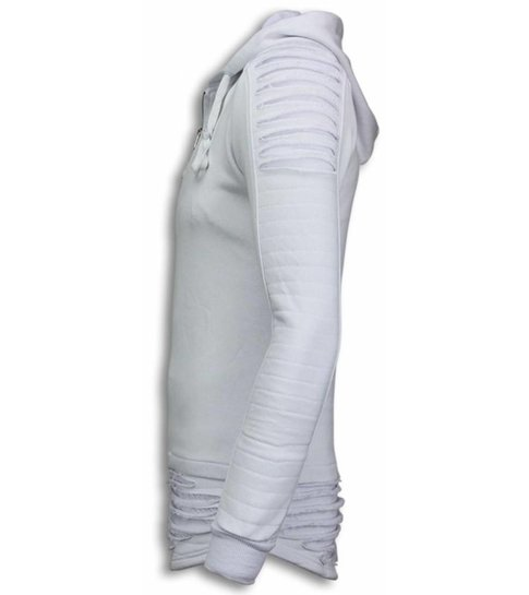 JUSTING Ripped Shoulder - Long Fit Hoodie - Wit