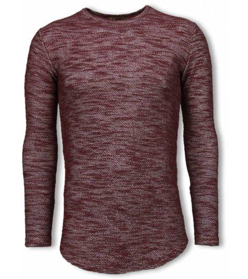 © MAN Gemeleerde Shirt - Long Fit Sweater - Bordeaux