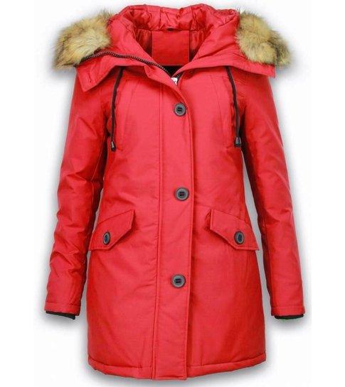 Style Italy Bontjassen - Dames Winterjas Middel - Canada Style - Nep Bontkraag - Rood