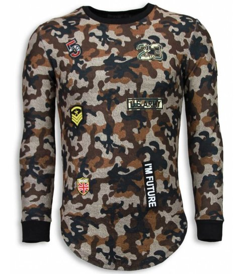 JUSTING 23th US Army Camouflage Shirt - Long Fit Sweater - Bruin