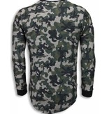JUSTING 23th US Army Camouflage Shirt - Long Fit Sweater - Groen