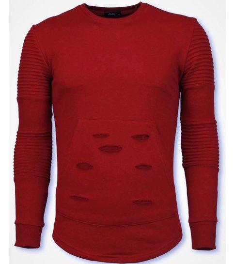 JUSTING Ribbel Schoulder Trui - Damaged Pocket Sweater - Rood
