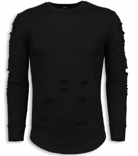 JUSTING 3D Stamp PARIS Trui - Damaged Sweater - Zwart