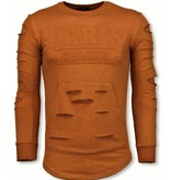 JUSTING 3D Stamp PARIS Trui - Damaged Sweater - Oranje
