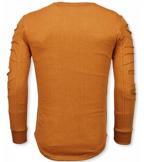 JUSTING 3D Stamp PARIS Trui - Damaged Sweater - Oranje