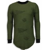 JUSTING Destroyed Look Trui - New Trend Long Fit Sweater - Groen