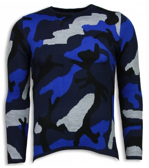 JUSTING Dazzle Paint Trui - Camouflage Long Fit Sweater - Blauw
