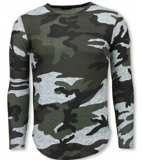 Berry Denim Leger Print Borduur Shirt - Long Sleeve T-shirt - Grijs