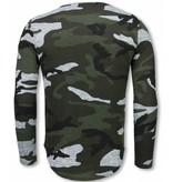 JUSTING Leger Print Borduur Shirt - Long Sleeve T-shirt - Grijs