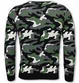JUSTING Military Trui - Camouflage Pullover - Groen