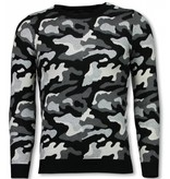 JUSTING Military Trui - Camouflage Pullover - Grijs
