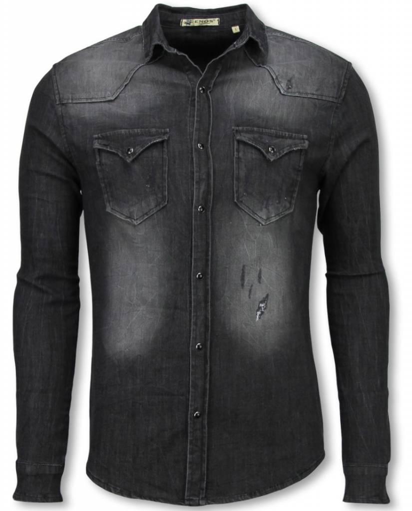 Jeans Overhemd Heren.Enos Denim Overhemd Slim Fit Lange Mouwen Heren Washed Grijs