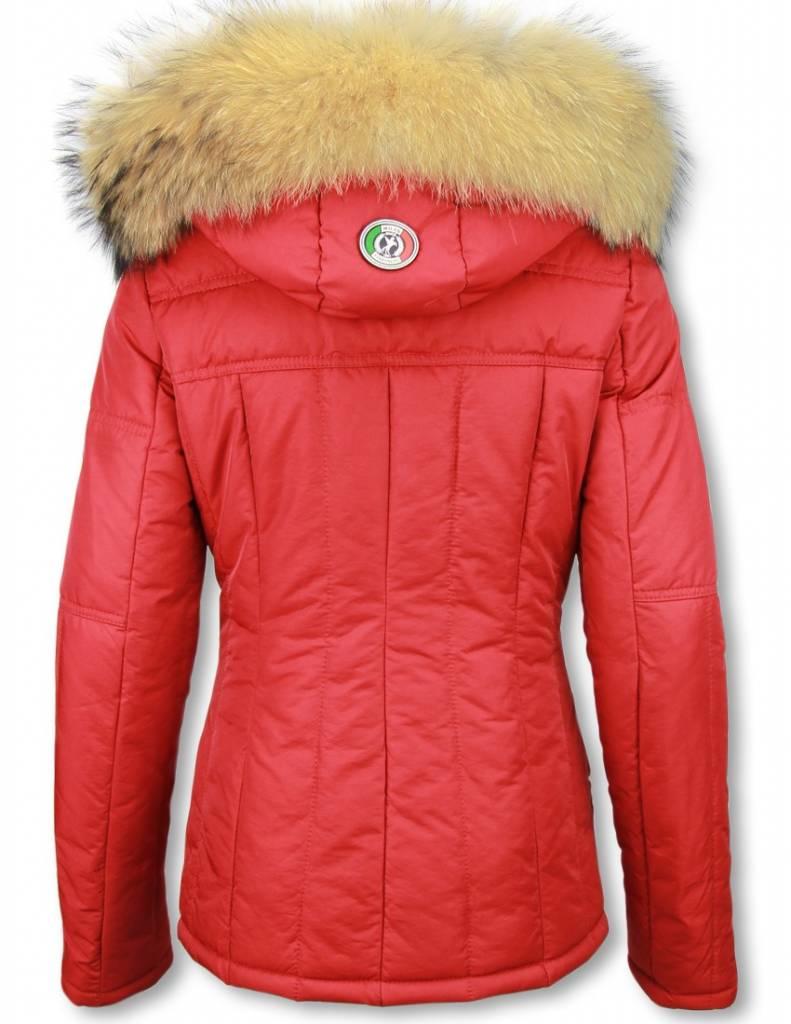 Warme Trendy Winterjas.Rode Jassen Met Bontkraag Warme Dames Winterjassen Styleitaly Nl