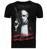 Local Fanatic Godfather - Rhinestone T-shirt - Zwart