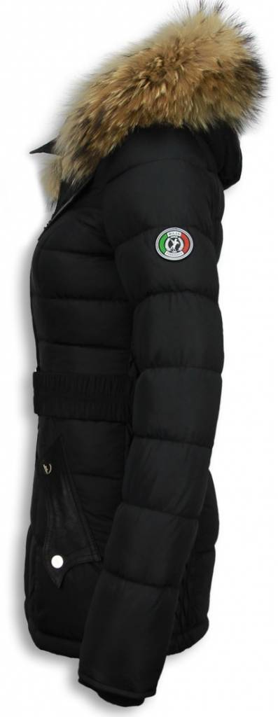 Halflange Winterjas.Milan Ferronetti Winterjassen Dames Winterjas Halflang Black On