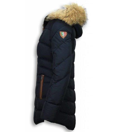 Milan Ferronetti Italiaanse Dames Jassen met Bontkraag - Parka Vrouwen winterjas