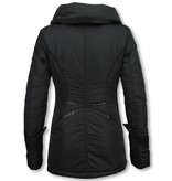 Milan Ferronetti Winterjassen - Dames Winterjas Halflang - Regular Slim - Zwart